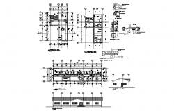 Church office elevation, section, ground floor and foundation plan details dwg file