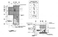 Church office section, roof plan and doors and windows schedule details dwg file