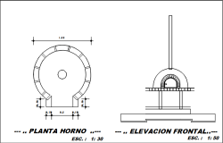 Circle plan and elevation detail dwg file
