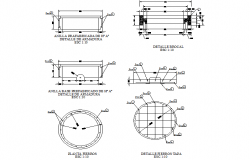 Circle plan and section detail dwg file