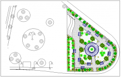 Circle road crossing area view dwg file