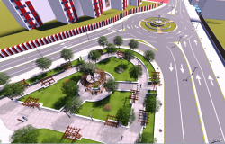 Circle road crossing view detail dwg file image