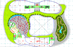 Circular design layout plan of hotel, corporate structure  dwg file