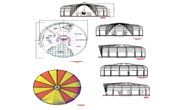 Circular shape building detail elevation dwg file