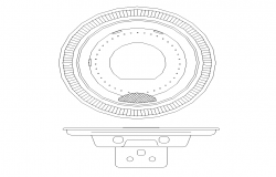 Circular shape corner sink detail elevation 2d view layout file
