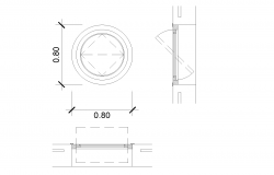 Circular window plan detail dwg file.