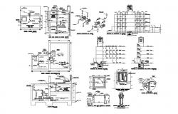 Cistern water tank section, installation, diagram and plumbing structure cad drawing details dwg file