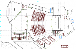 City auditorium hall architecture layout plan details dwg file
