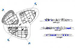City hotel building elevation, section and distribution plan details dwg file