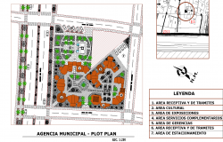 City office and cultural center plan detail dwg file.