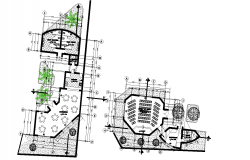 City offices and cultural center plan detail dwg file.