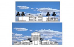 City offices and cultural plan & elevation detail dwg file.