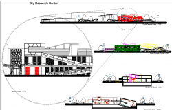 City research center section view with elevation dwg file