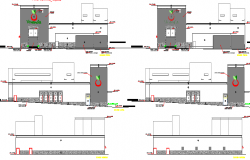 City shopping center all sided elevation details dwg file