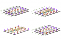 City small market isometric view auto-cad details dwg file