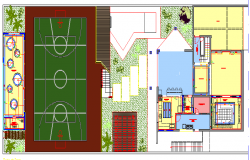 City sports ground center architecture project dwg file