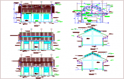 Class room design view with section and elevation view dwg file