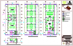 Class room view with laboratory plan in three level view dwg file
