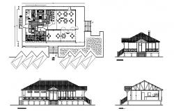 Classic restaurant elevation, section and plan cad drawing details dwg file