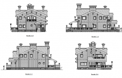 Classic villa elevation dwg file