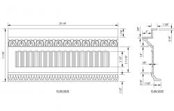 Classical cornices elevation and plan view cad drawing details dwg file