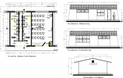Classroom Architectural plan of a school  dwg file
