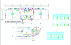Classroom and kitchen distribution plan with view of door and window detail dwg file
