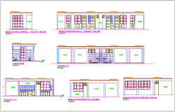 Classroom building elevation and different axis section view for dwg file