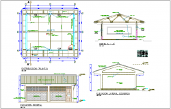 Classroom distribution plan,elevation and section view for school dwg file
