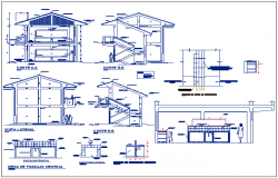 Classroom slab library and computer room elevation and different axis section view dwg file