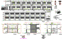 Classroom structure detail elevation dwg file