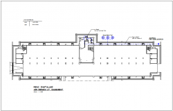 Clean single water line view for basement of government building dwg file