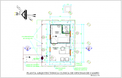 Clinic plan for office camp area dwg file