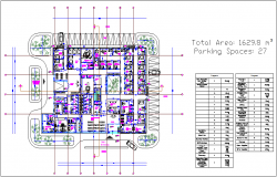 Clinic plan with parking detail dwg file