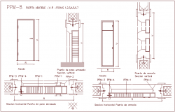 Closet door design view with sectional view dwg file