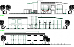 Club House Design and Elevation and Section Plan dwg file