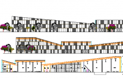 Club House Elevation and Section Plan dwg file