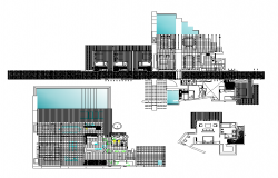 Club building detail elevation and plan 2d view layout dwg file