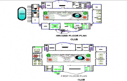 Club ground floor and first-floor detail dwg file