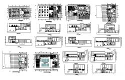 Club house all sided elevation, section and plan cad drawing details dwg file