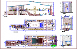 Club house design view, dance floor plan,elevation & section view dwg file
