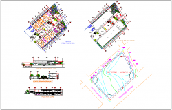 Club house design with garden with landscape view and map view dwg file
