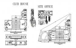 Club house elevation, section, floor plan, site office plan and auto-cad details dwg file
