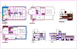 Club house floor plan,elevation and section view dwg file