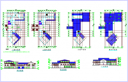 Club house plan and elevation with column view dwg file