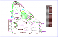 Club house plan for second floor with door and window schedule dwg file