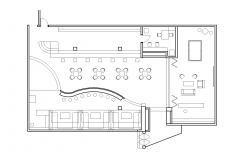 Club house plan with detail dimensions in dwg file