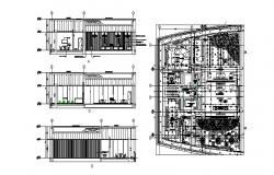 Club house section and distribution plan cad drawing details dwg file