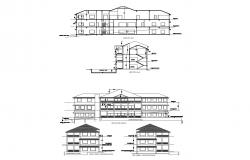 Club house with 41.78mtr x 7.96mtr with detail dimension in autocad