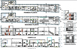 Co-operative bank elevation, section and floor plan details dwg file